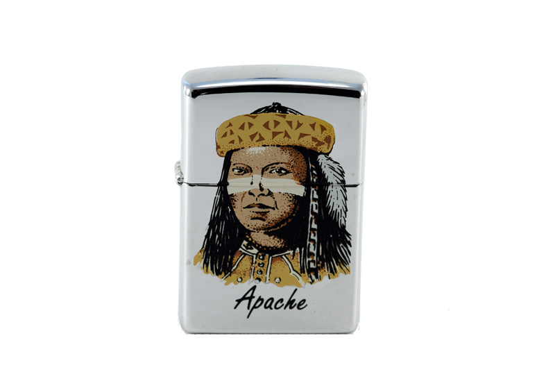 vintage zippo cigarette lighter with apache indian