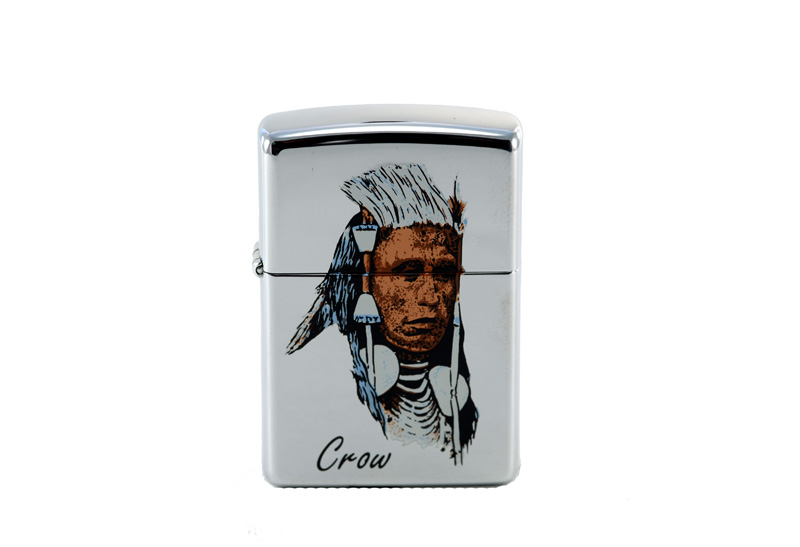 vintage zippo cigarette lighter with crow indian