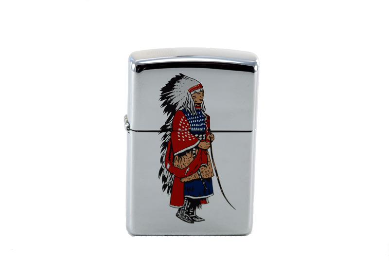 vintage zippo cigarette lighter with kiowa indian