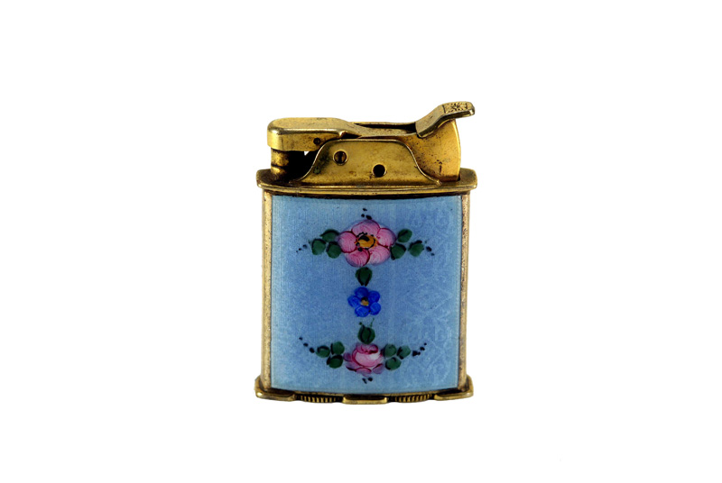 evans glass enamel gilloche rollerbearing blue with red rose gold plated number one cigarette lighter