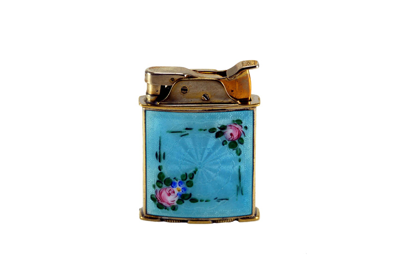 evans glass enamel gilloche rollerbearing blue with two rases gold plated cigarette lighter