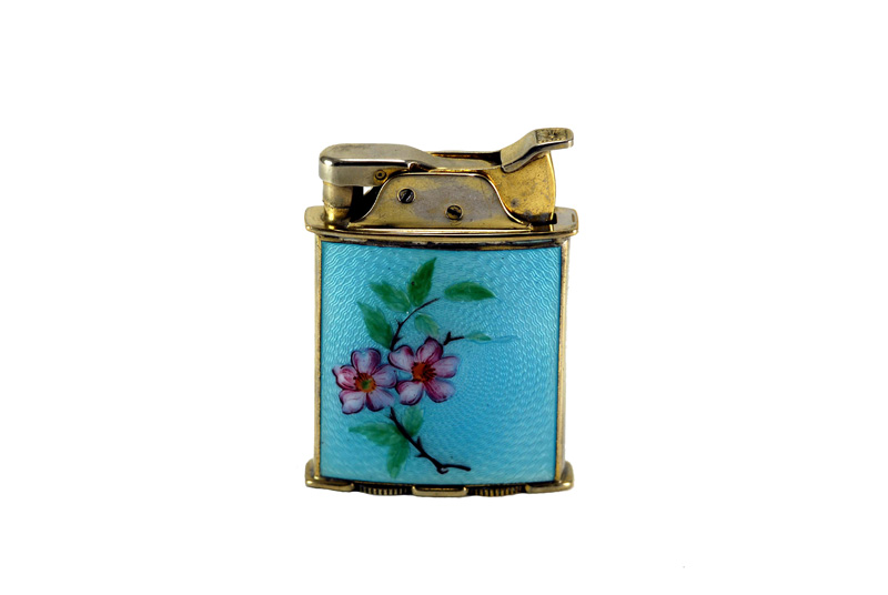 evans glass enamel gilloche rollerbearing blue with flowers gold plated cigarette lighter