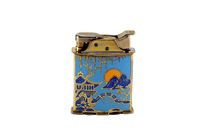 evans glass enamel gilloche rollerbearing blue with yellow sun gold plated cigarette lighter