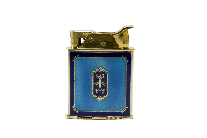 evans glass enamel gilloche rollerbearing black with shield gold plated cigarette lighter
