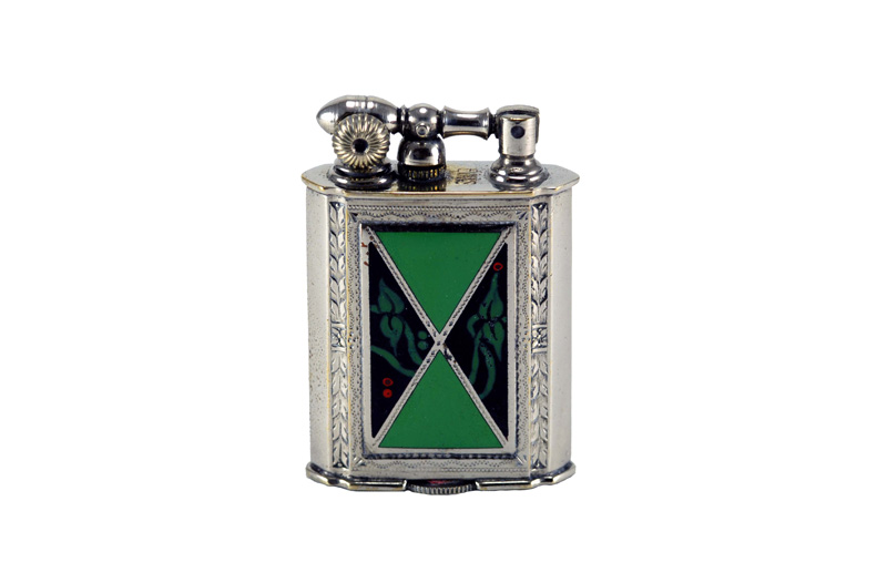 evans glass enamel gilloche black and green with berries liftarm cigarette lighter