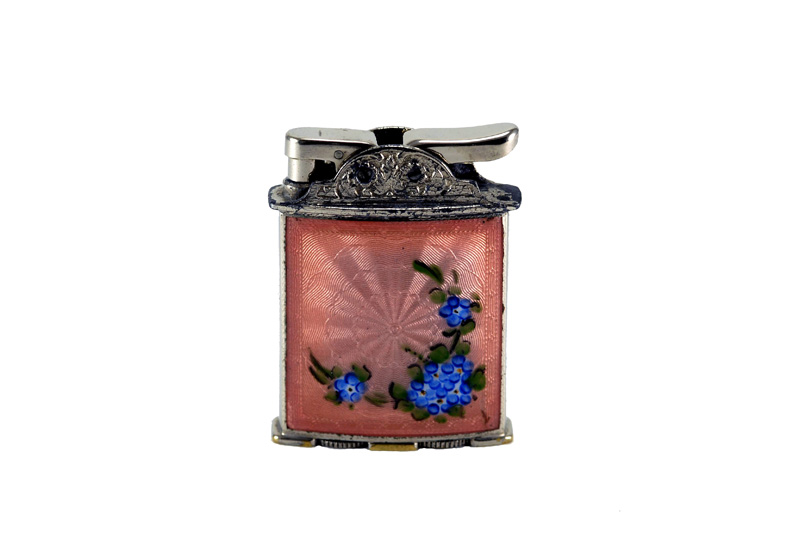 evansl automatic glass enamel gilloche  pink with blue flowers cigarette lighter